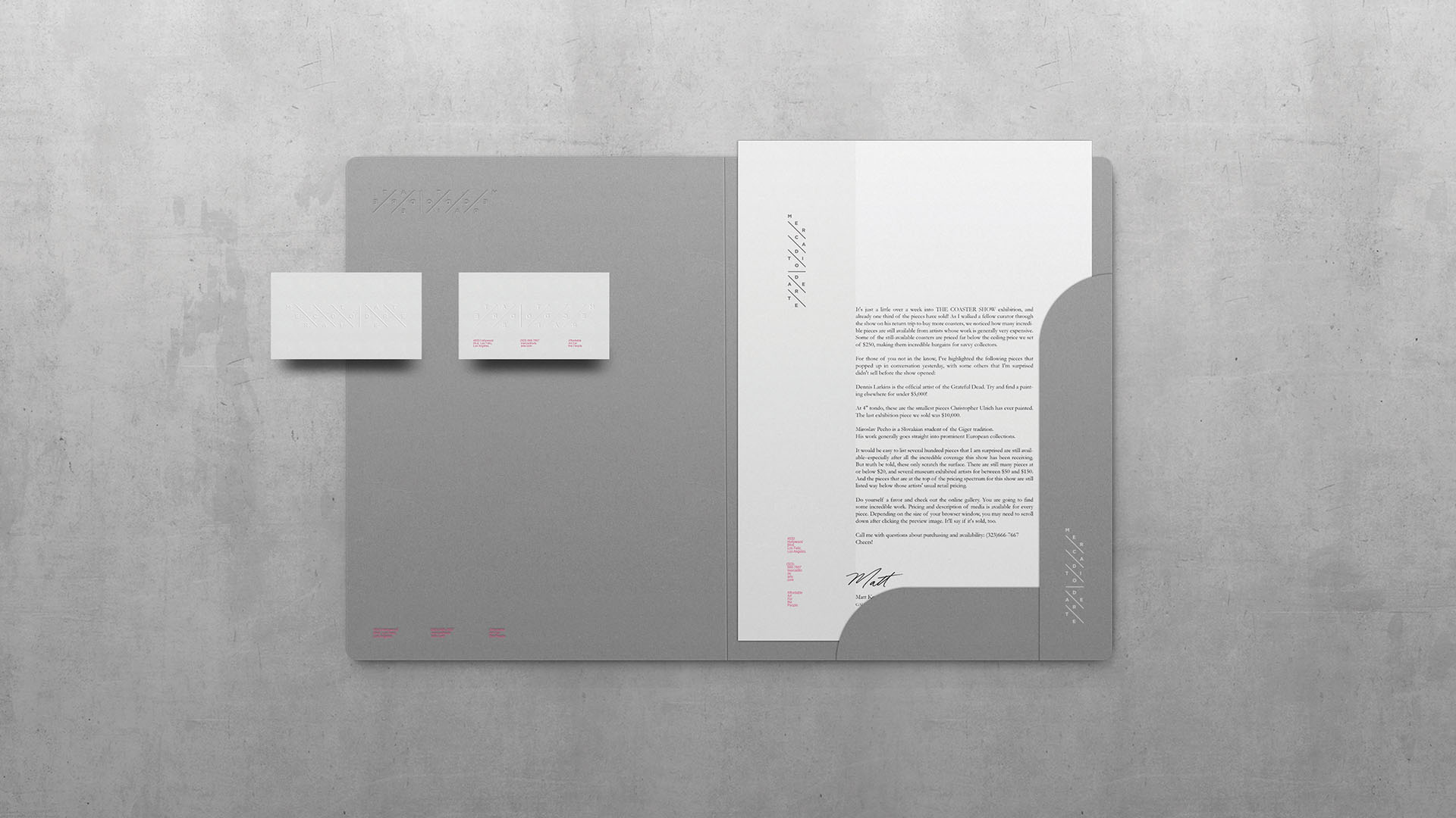 branding, stationery, concrete, minimalist, top view, folder, letterhead, business cards