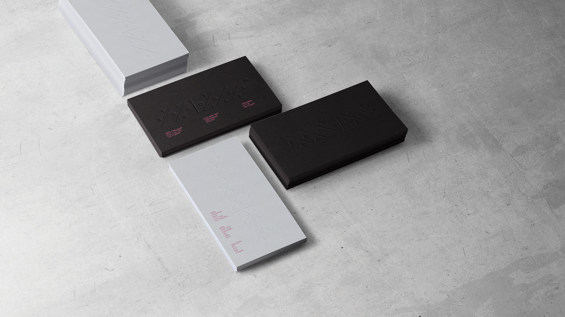 branding, stationery, black white, concrete, minimalist, embossed, business cards, letterpress, top view