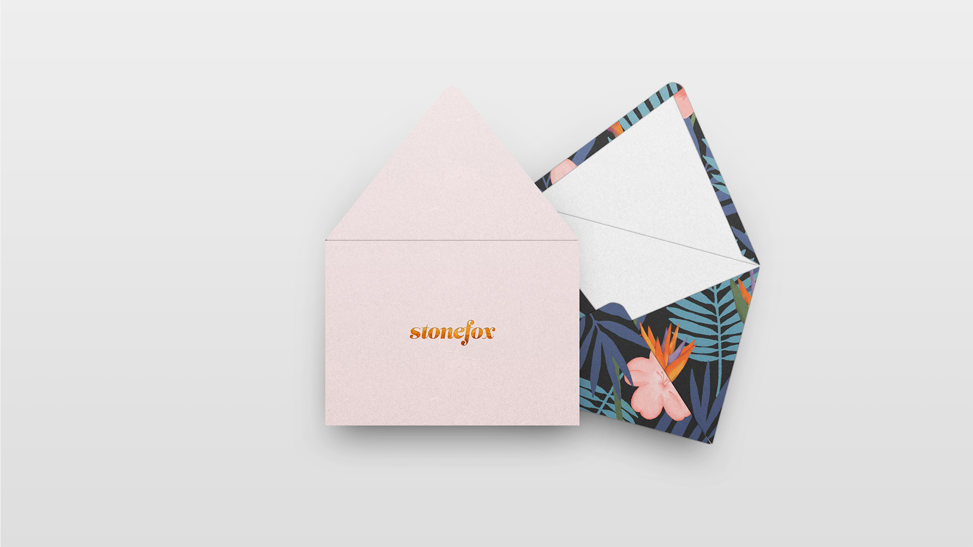 branding, stationery, soft pink, flower pattern, cute, foil, top view, envelopes